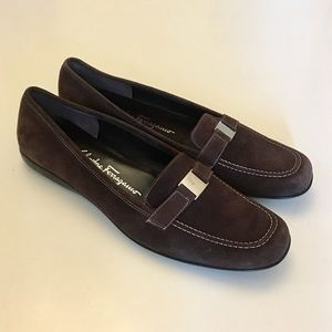 Salvatore Ferragamo Brown Suede Loafers
